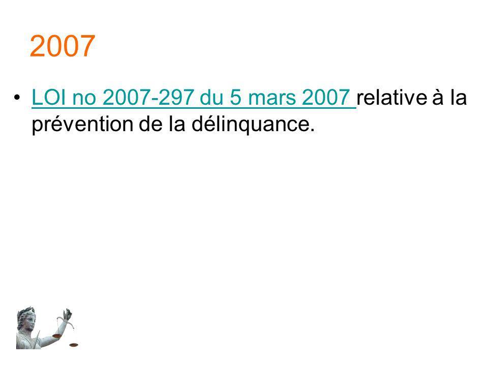 2007 LOI no 2007-297 du 5 mars 2007 relative à la prévention de la délinquance.
