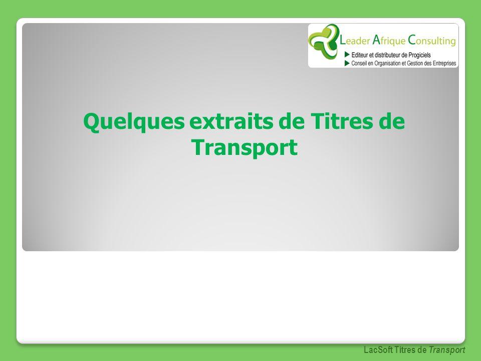Quelques extraits de Titres de Transport