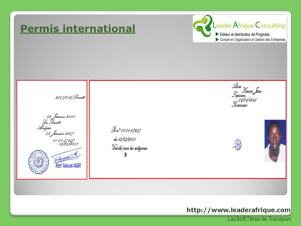 Permis international http://www.leaderafrique.com