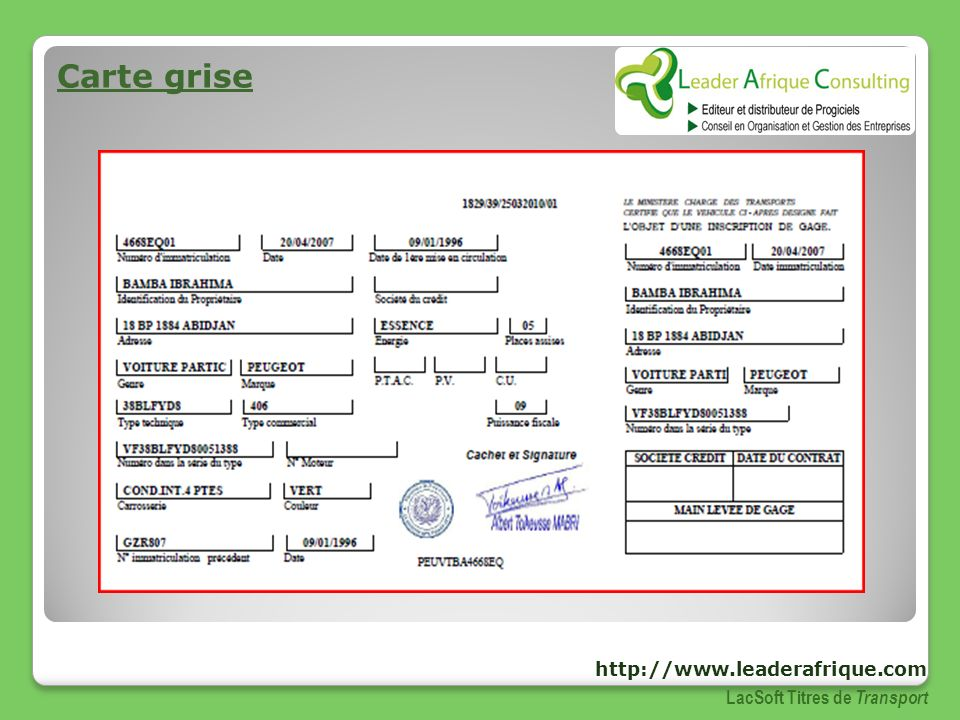Carte grise http://www.leaderafrique.com LacSoft Titres de Transport