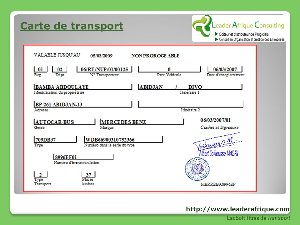Carte de transport http://www.leaderafrique.com