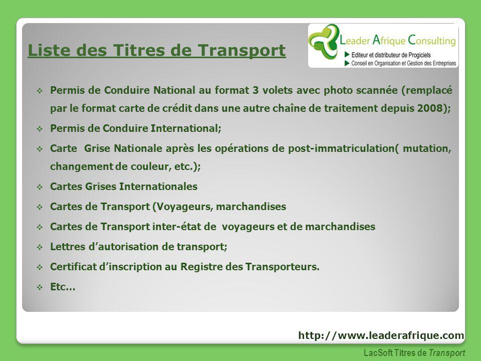 Liste des Titres de Transport