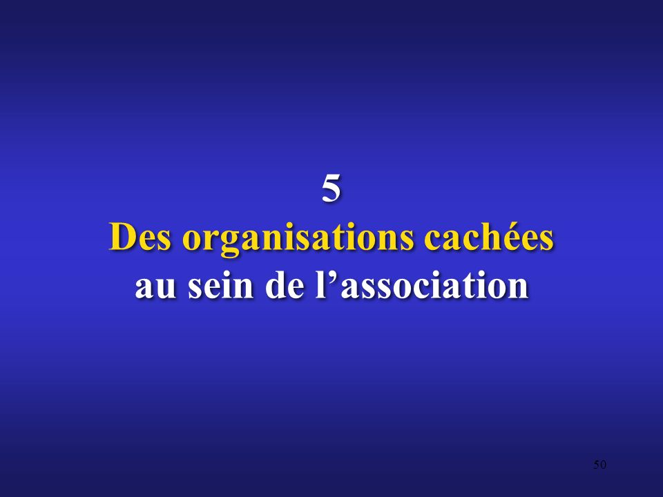 5 Des organisations cachées au sein de l'association