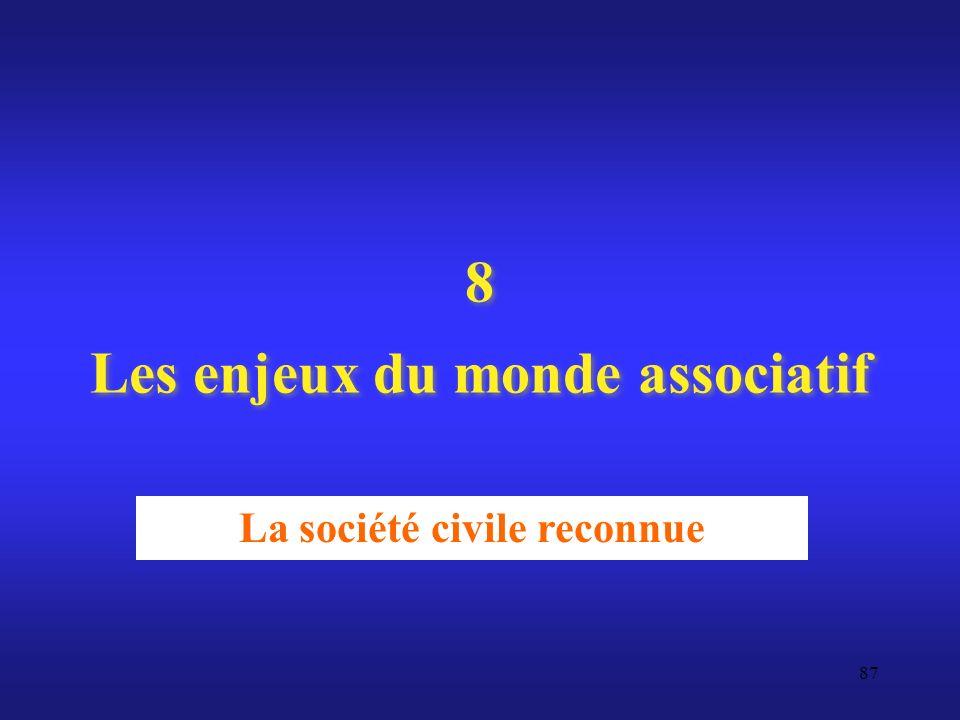 8 Les enjeux du monde associatif La société civile reconnue