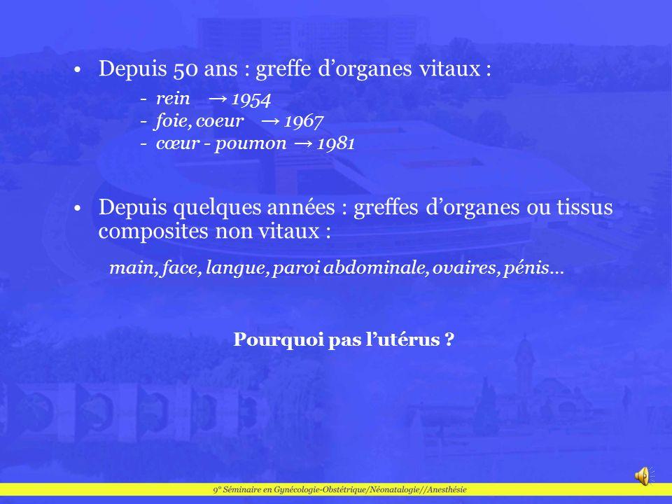 Depuis 50 ans : greffe d'organes vitaux :