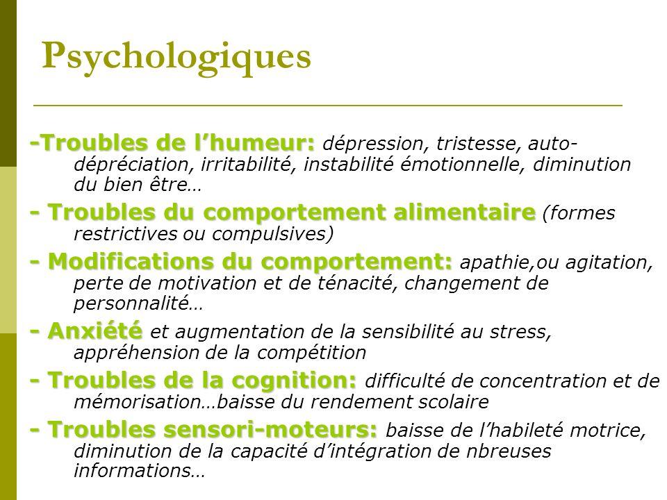 Psychologiques -Troubles de l'humeur: dépression, tristesse, auto-dépréciation, irritabilité, instabilité émotionnelle, diminution du bien être…