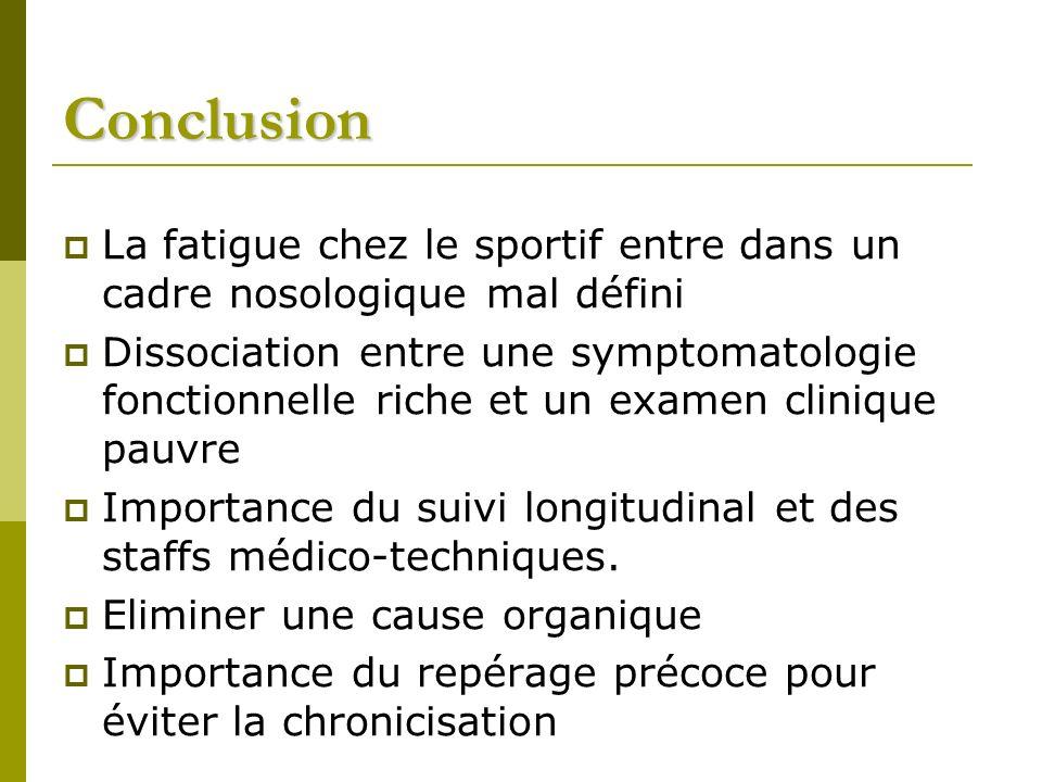 Conclusion La fatigue chez le sportif entre dans un cadre nosologique mal défini.