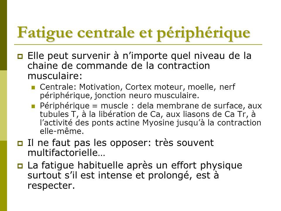 Fatigue centrale et périphérique