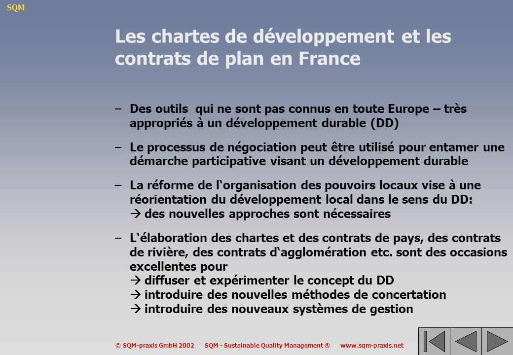 Les chartes de développement et les contrats de plan en France