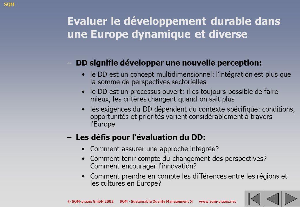 Evaluer le développement durable dans une Europe dynamique et diverse