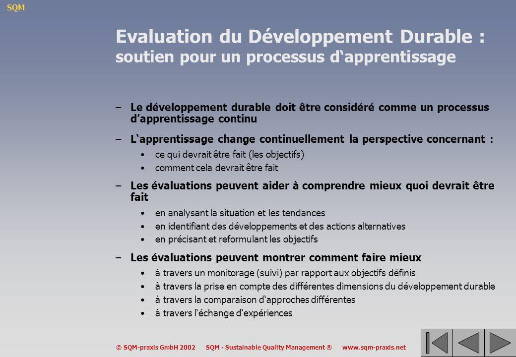 Evaluation du Développement Durable : soutien pour un processus d'apprentissage