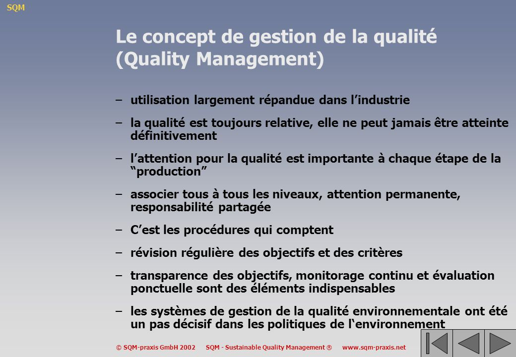 Le concept de gestion de la qualité (Quality Management)