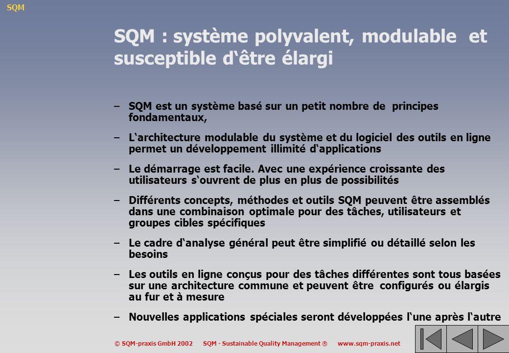 SQM : système polyvalent, modulable et susceptible d'être élargi
