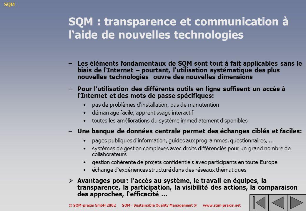 SQM : transparence et communication à l'aide de nouvelles technologies