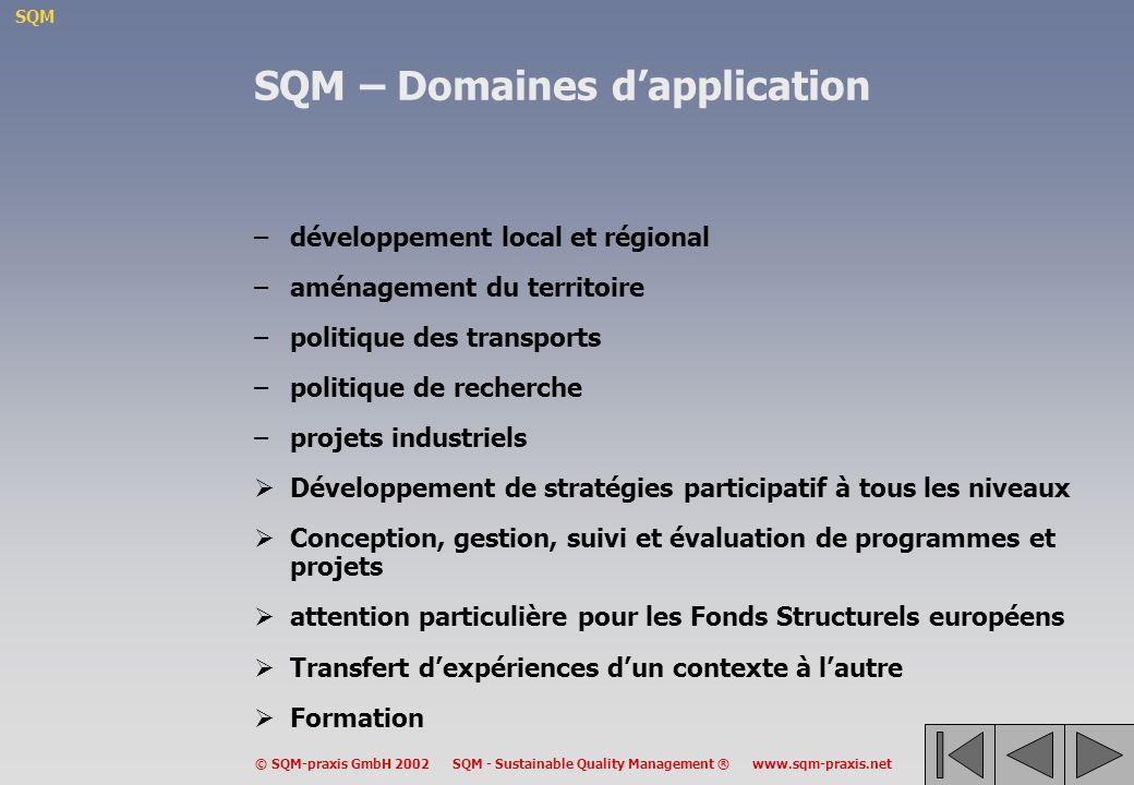 SQM – Domaines d'application