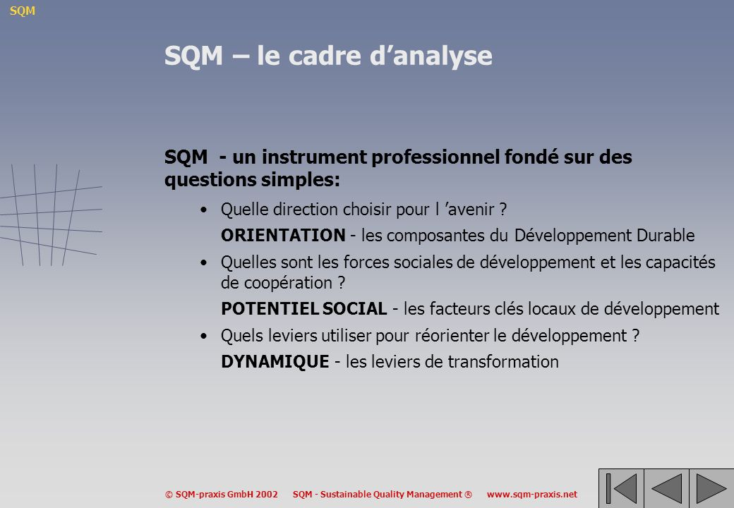 SQM – le cadre d'analyse