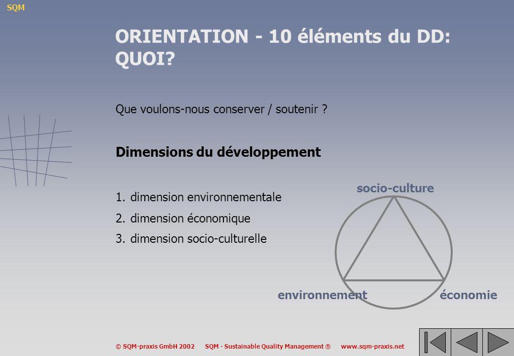 ORIENTATION - 10 éléments du DD: QUOI