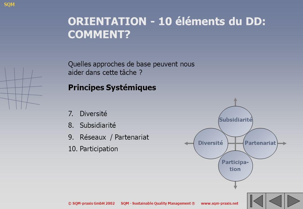 ORIENTATION - 10 éléments du DD: COMMENT