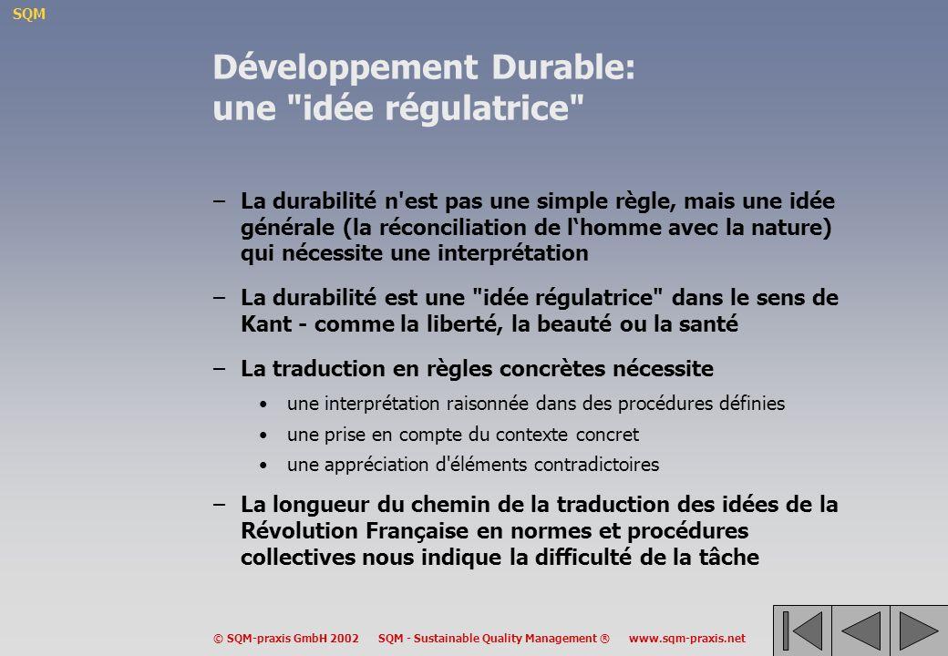Développement Durable: une idée régulatrice