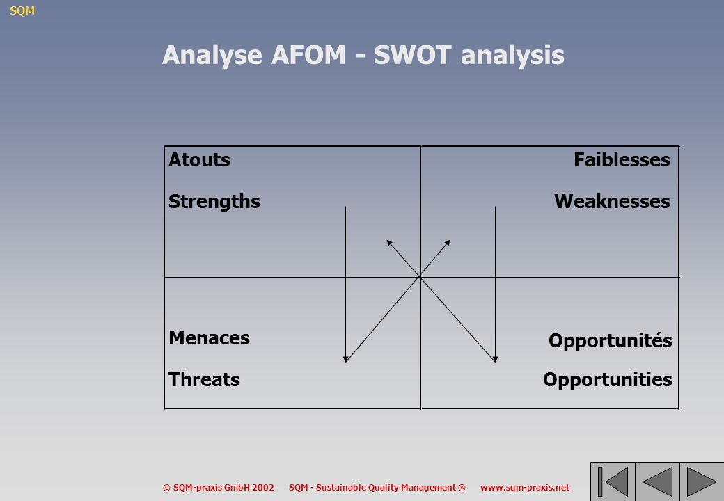 Analyse AFOM - SWOT analysis