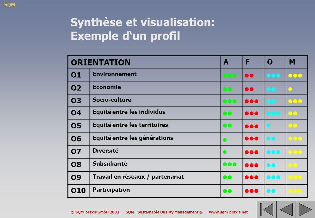 Synthèse et visualisation: Exemple d'un profil