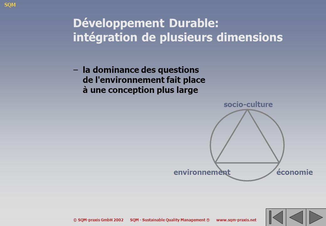 Développement Durable: intégration de plusieurs dimensions