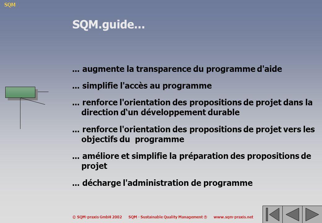 SQM.guide... ... augmente la transparence du programme d aide