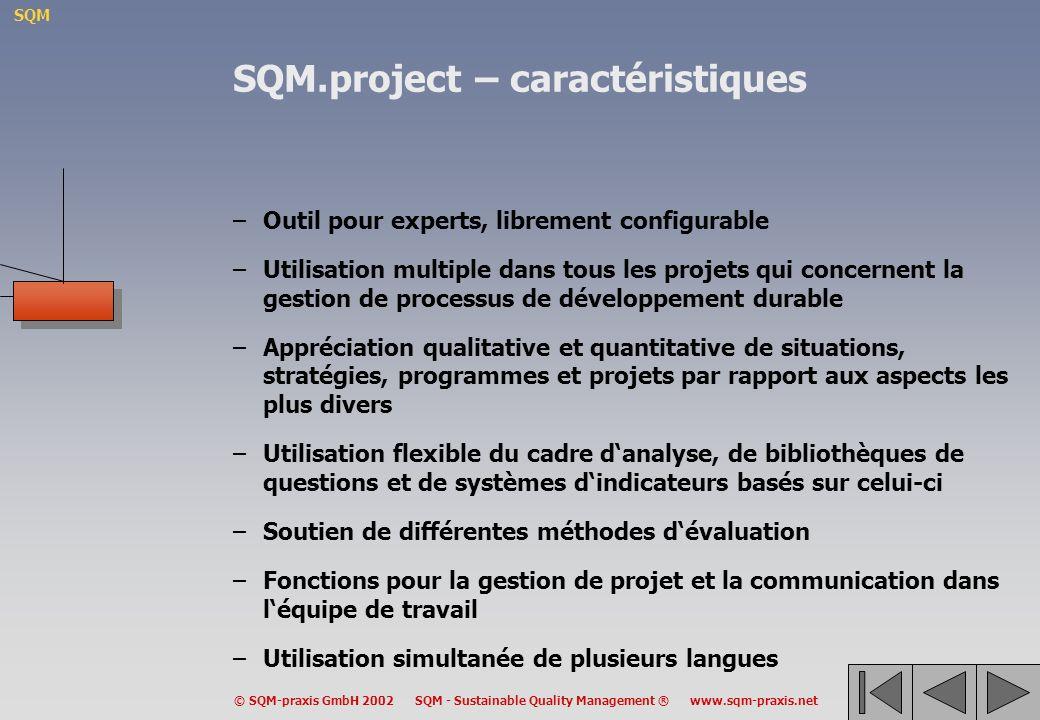 SQM.project – caractéristiques