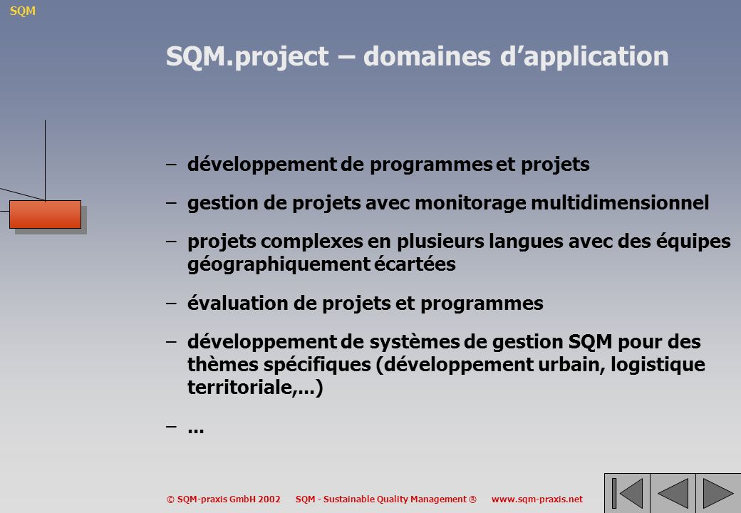 SQM.project – domaines d'application