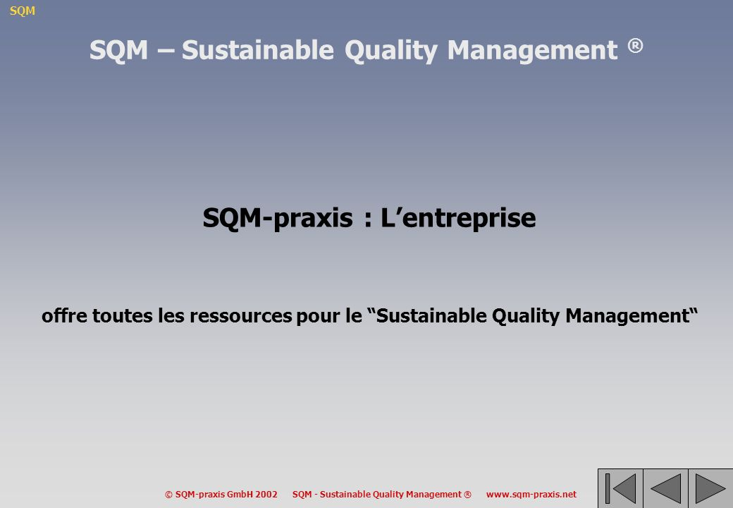 SQM – Sustainable Quality Management ® SQM-praxis : L'entreprise