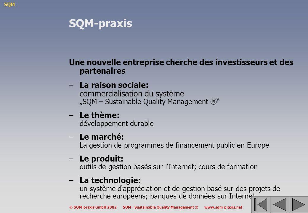 SQM-praxis Une nouvelle entreprise cherche des investisseurs et des partenaires.