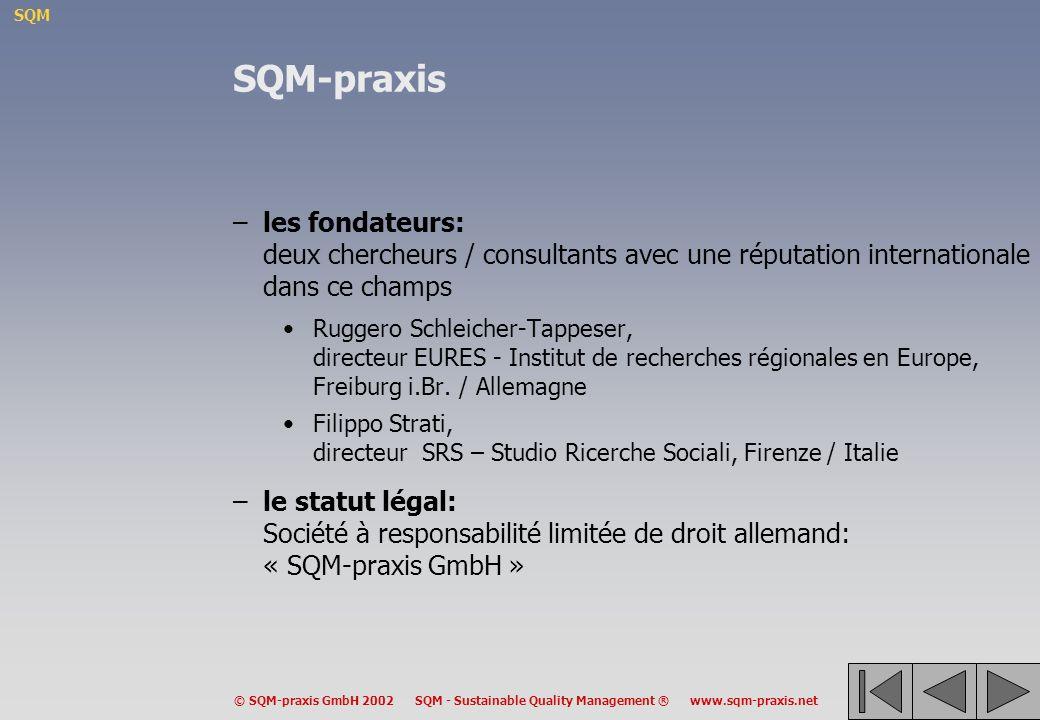 SQM-praxis les fondateurs: deux chercheurs / consultants avec une réputation internationale dans ce champs.