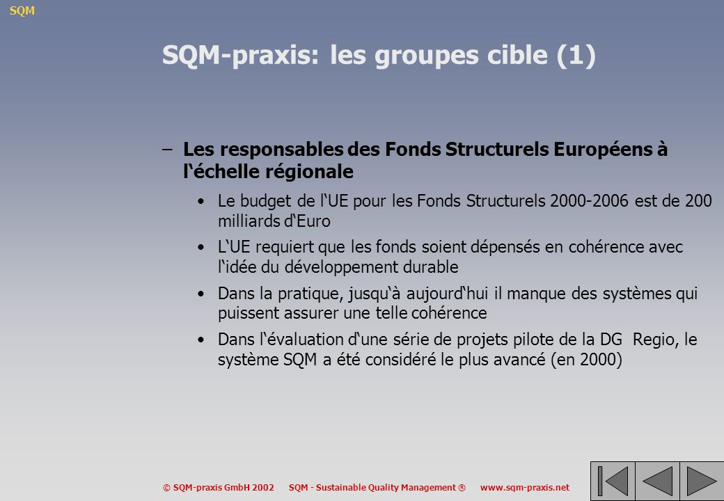 SQM-praxis: les groupes cible (1)
