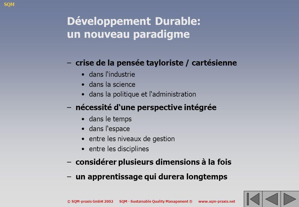 Développement Durable: un nouveau paradigme