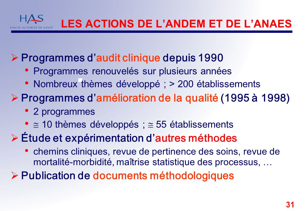 LES ACTIONS DE L'ANDEM ET DE L'ANAES