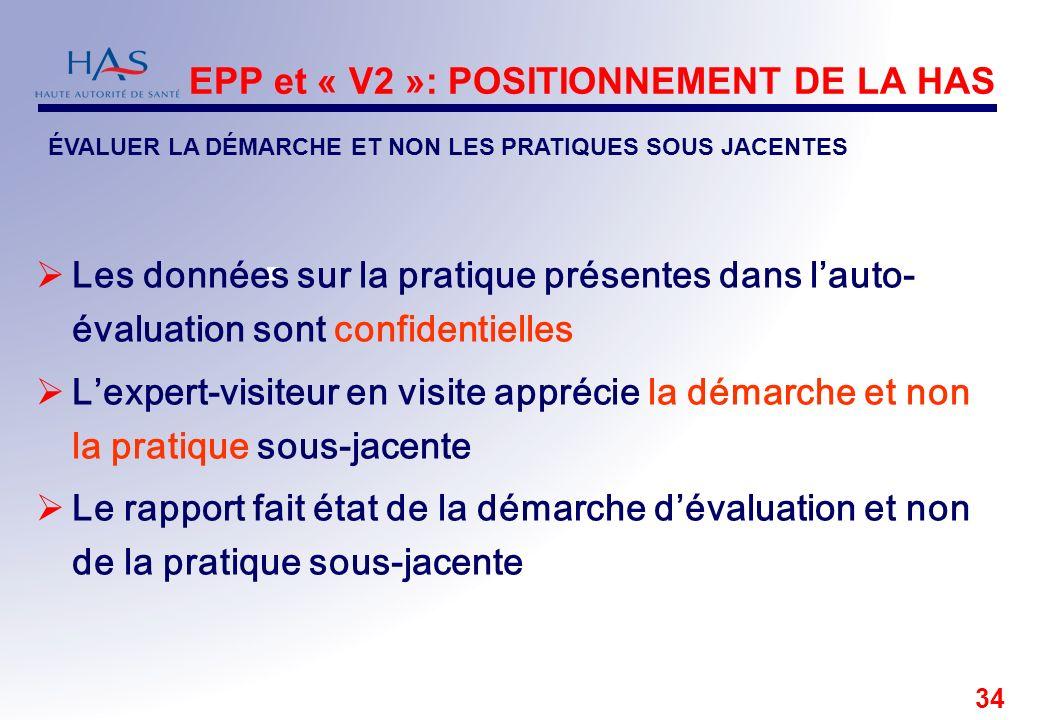 EPP et « V2 »: POSITIONNEMENT DE LA HAS
