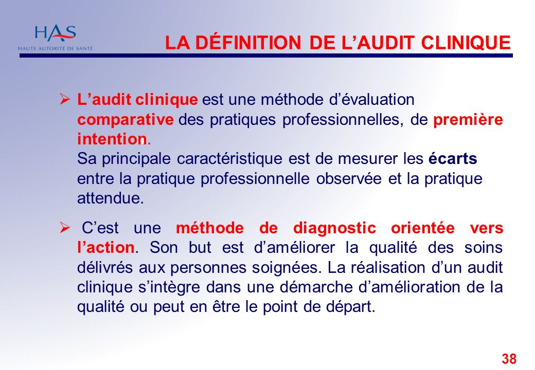 LA DÉFINITION DE L'AUDIT CLINIQUE