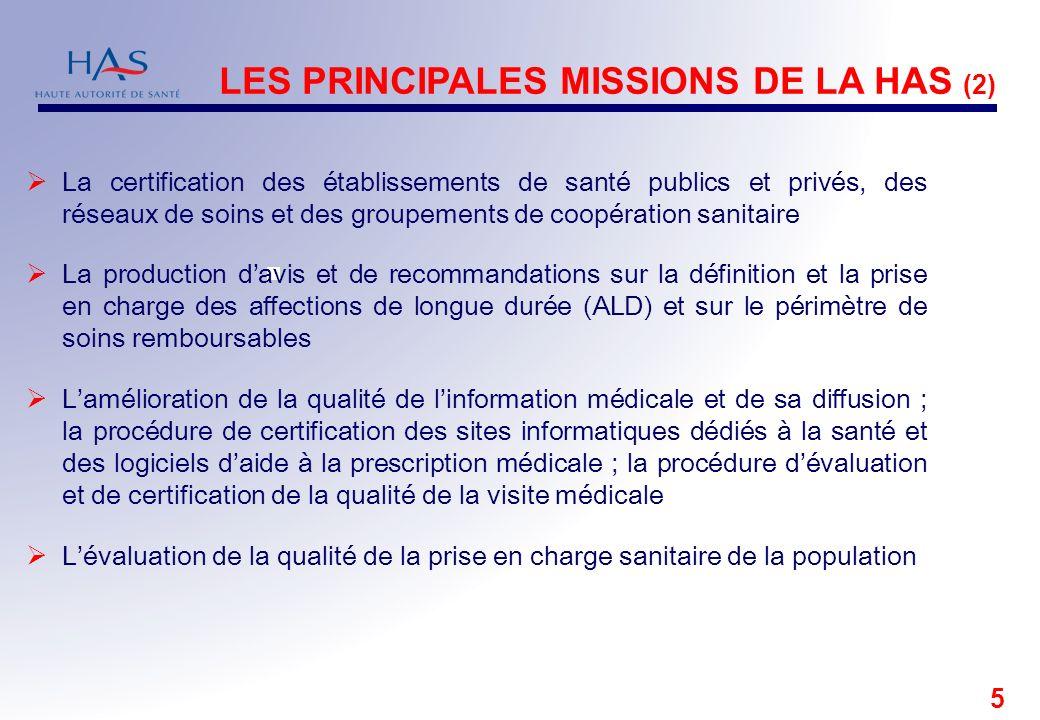 LES PRINCIPALES MISSIONS DE LA HAS (2)