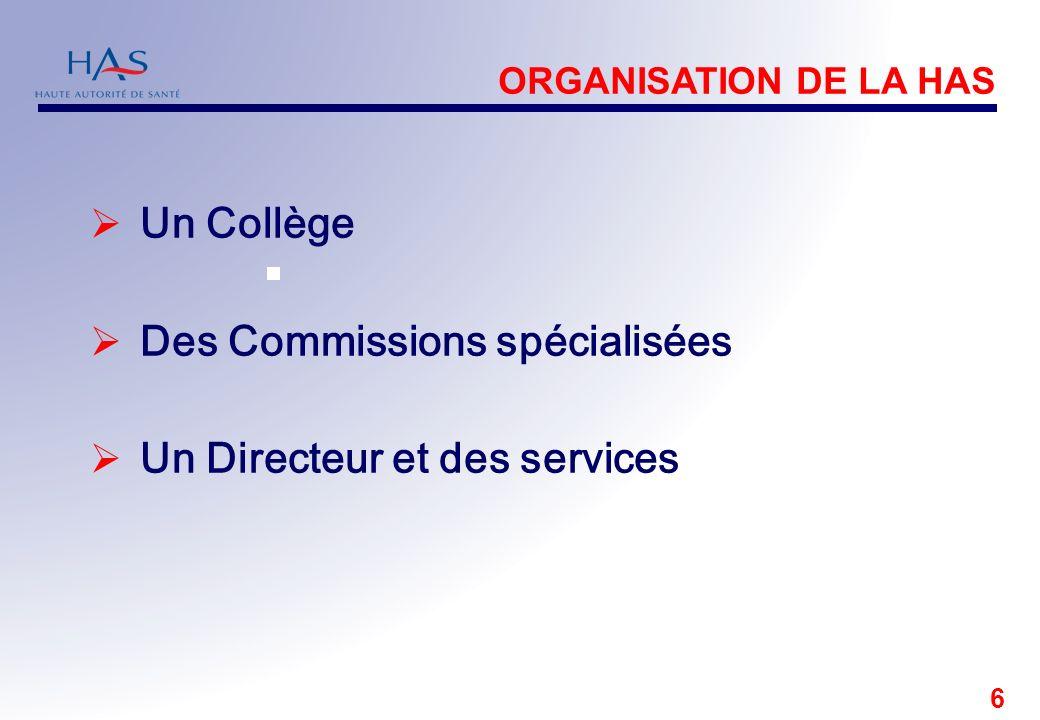 Des Commissions spécialisées Un Directeur et des services