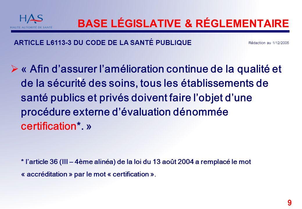 BASE LÉGISLATIVE & RÉGLEMENTAIRE