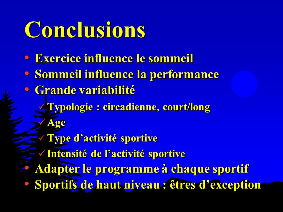 Conclusions Exercice influence le sommeil