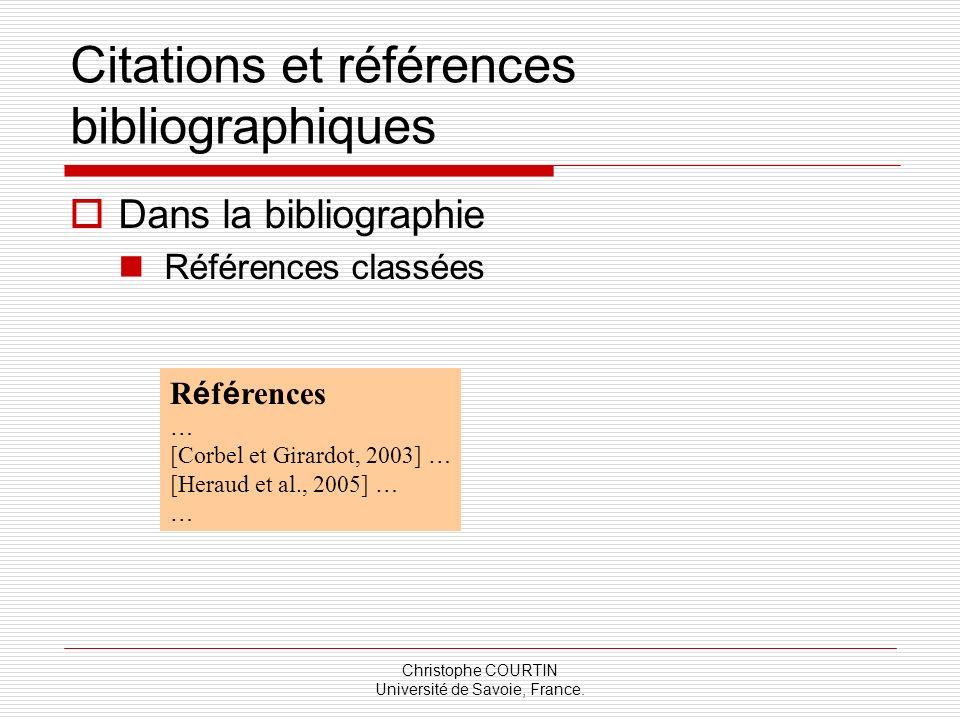 Citations et références bibliographiques