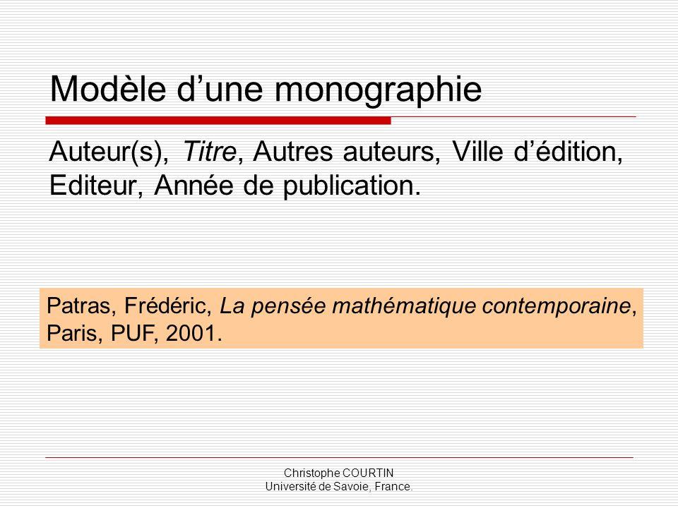 Modèle d'une monographie