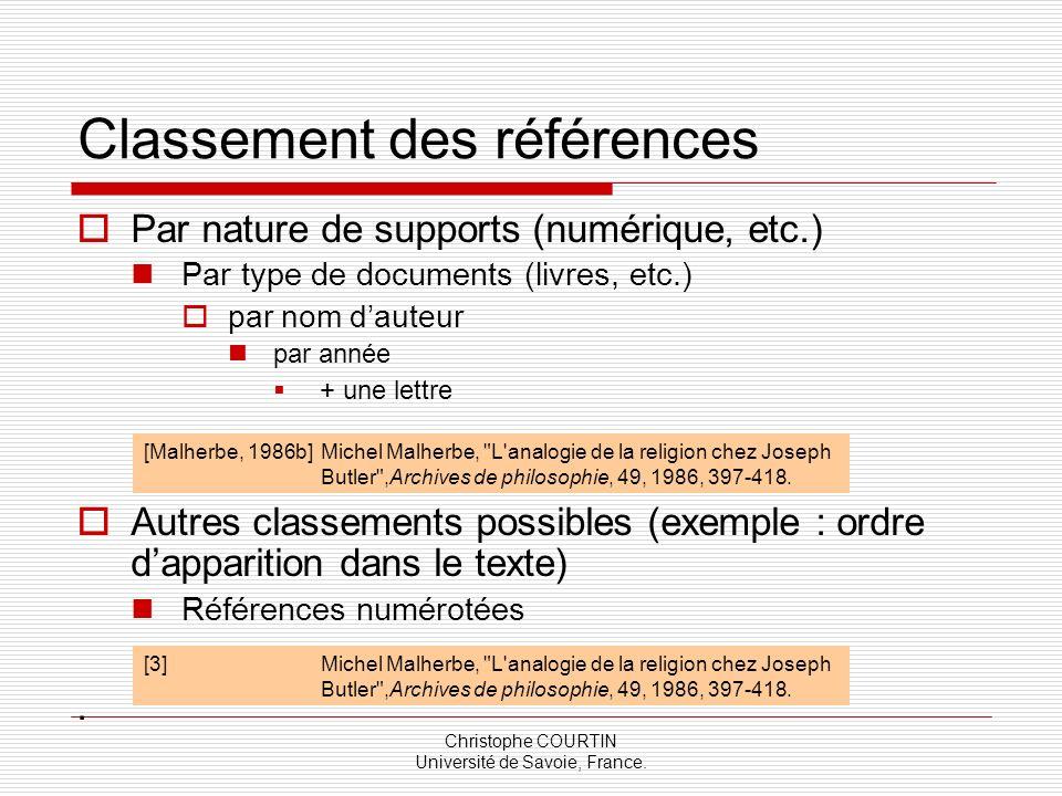 Classement des références