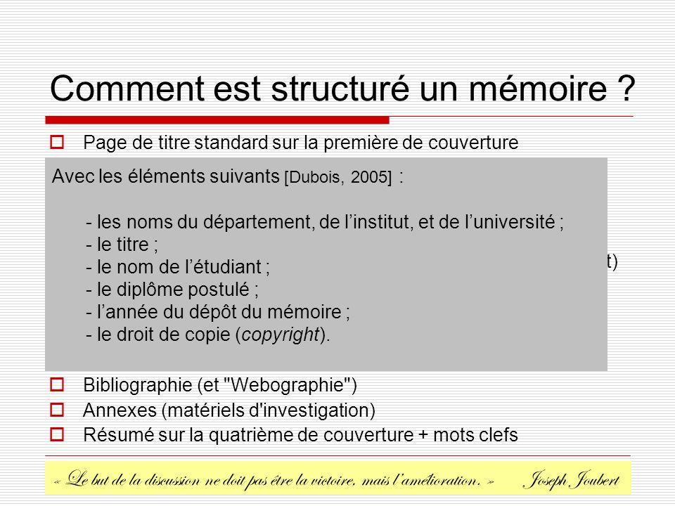 Comment est structuré un mémoire