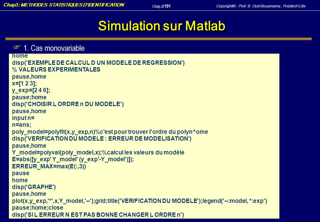 Simulation sur Matlab 1. Cas monovariable home