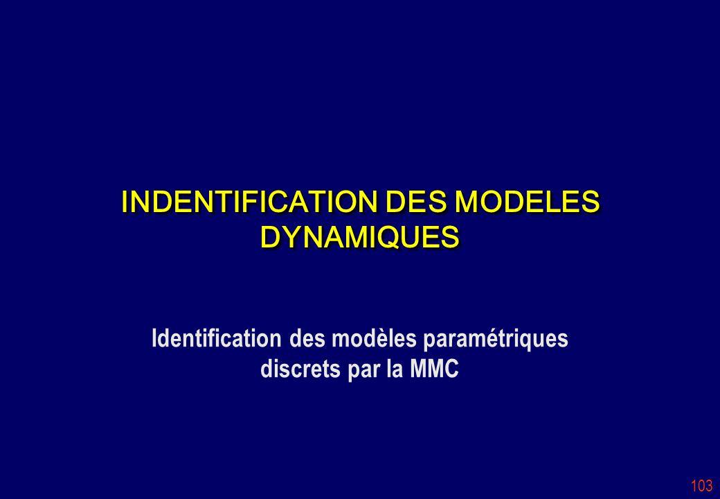 INDENTIFICATION DES MODELES DYNAMIQUES
