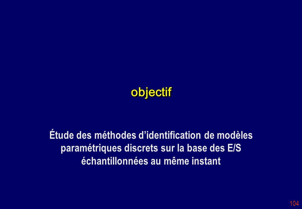 objectif Étude des méthodes d'identification de modèles paramétriques discrets sur la base des E/S échantillonnées au même instant.