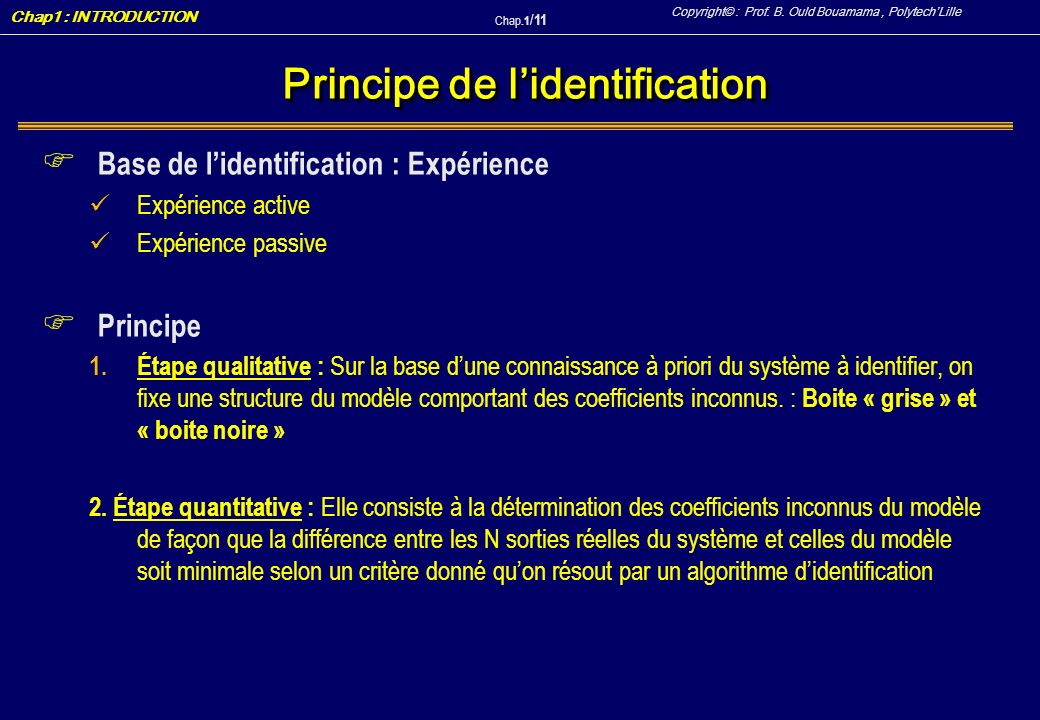 Principe de l'identification