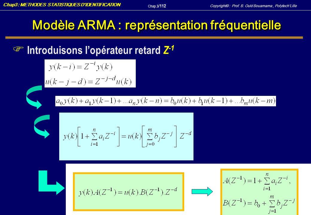 Modèle ARMA : représentation fréquentielle
